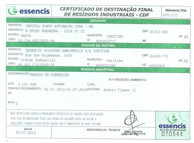 Certificado Resíduos